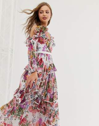 50bf52163510 Needle & Thread ruffle cold shoulder maxi dress in allover floral print