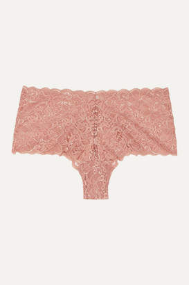 Hanro Moments Stretch-lace Briefs - Antique rose