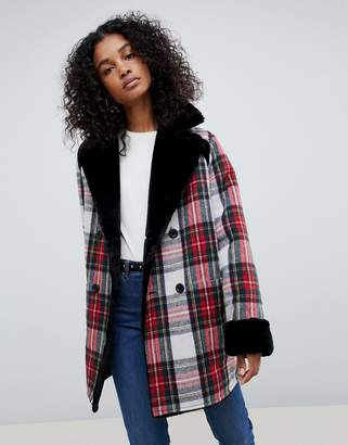 Asos Design DESIGN reversible faux fur and check bonded jacket