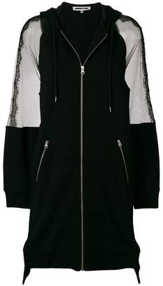 McQ sheer panel longline zip front jacket