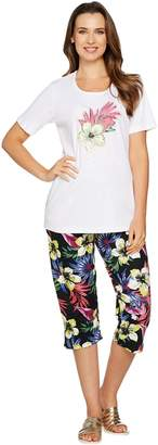 Factory Quacker Tropics Fun T-shirt and Printed Capri Pants Set
