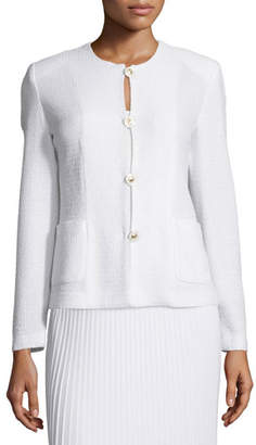 Misook Button-Front Textured Jacket