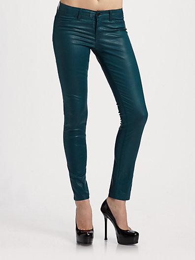 J Brand Low-Rise Coated Twill Skinny Pants