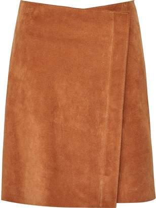 Reiss Sammie - Suede Wrap-front Skirt in Orange