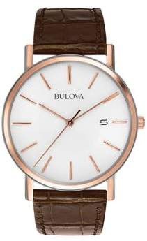 Bulova Mens' Classic Rose Gold Stainless Steel and Leather Watch-98H51