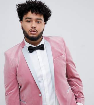 Asos DESIGN Plus super skinny blazer in dusky pink velvet