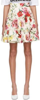 Dolce & Gabbana White Flowers Miniskirt