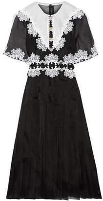 Dolce & Gabbana Embellished Lace-Trimmed Pleated Silk-Blend Organza Dress