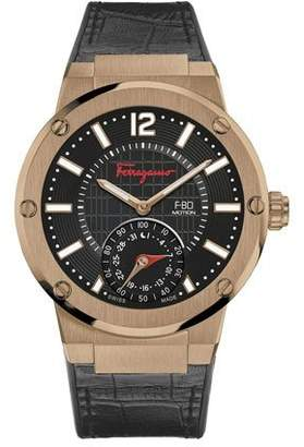 Salvatore Ferragamo Men's 44mm F-80 Motion Leather Smartwatch, Black