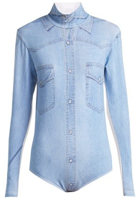 Vetements - Denim Shirt Print Bodysuit - Womens - Blue