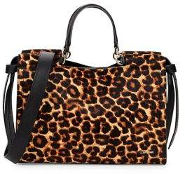 Calvin Klein Leopard Faux Fur Leather Satchel