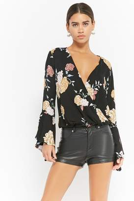 Forever 21 Floral Print Bell Sleeve Top