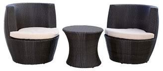 Abbyson Living 3pc Newport Outdoor Wicker Bistro Chair Set Espresso