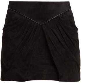 Pleat-detail suede mini skirt