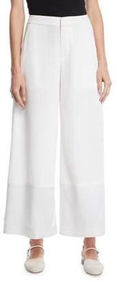 Co Flat-Front Wide-Leg Pants w/ Contrast Hem