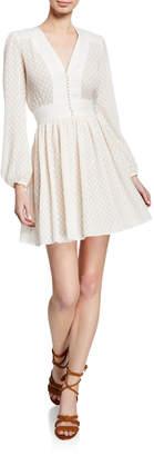 Zimmermann Dot-Print Plisse V-Neck Short Dress