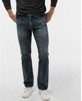 Express slim straight medium wash distressed soft cotton jeans