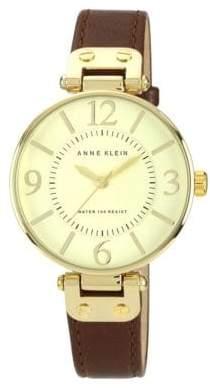 Anne Klein Gold Tone Large Brown Strap Watch
