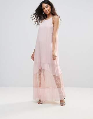 BCBGMAXAZRIA Sheer A-Line Midi Dress With Lace Hem