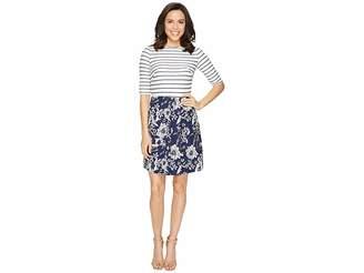 Christin Michaels Anya 3/4 Sleeve Stripe Top Dress Women's Dress
