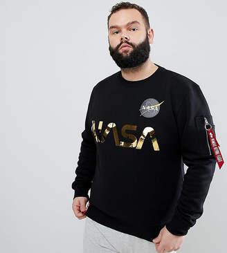 Alpha Industries PLUS Nasa Gold Foil Print Crewneck Sweatshirt in Black