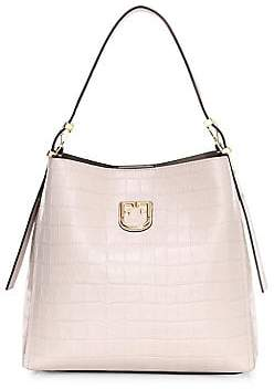 Furla Women's Small Belvedere Croc-Embossed Leather Hobo Bag