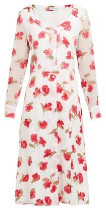 Altuzarra Livia Poppy Devore Waistband Midi Dress - Womens - White Multi