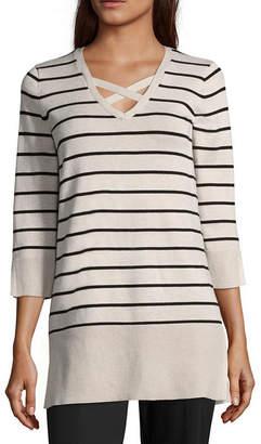 ISELA Isela 3/4 Sleeve V Neck Stripe Pullover Sweater