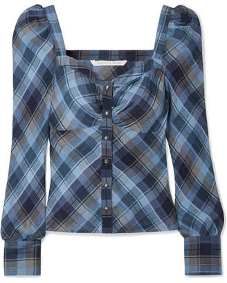 Veronica Beard Frankie Ruched Checked Cotton-blend Top - Blue