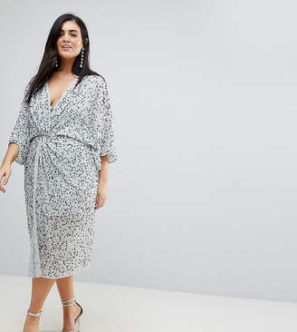 Asos Embellished Sequin Kimono Midi Dress