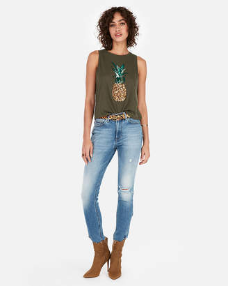 Express One Eleven Sequin Pineapple Abbreviated Crew Neck Tank