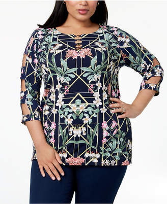 JM Collection Plus Size Lattice-Sleeve Tunic, Created for Macy's