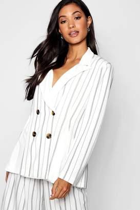 boohoo Contrast Collar Godet Stripe Blazer