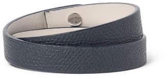 Valextra Pebble-Grain Leather Wrap Bracelet