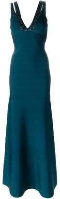 Herve Leger embellished V-neck gown