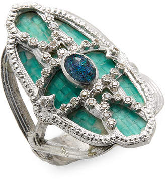 Armenta Silver Opal, Quartz And Diamond Mosaic Ring