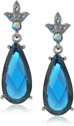 Michael Kors 1928 Jewelry Silver-Tone Stone and AB Crystal Teardrop Earrings