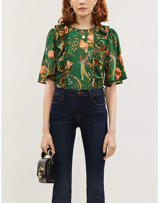 Selfridges Happy X Nature Frill floral and bird-print recycled polyester top