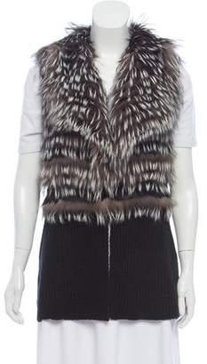 Ramy Brook Leather-Trimmed Fur-Paneled Vest