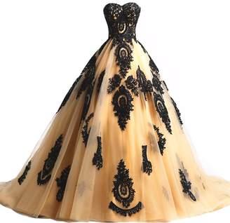 06d3500b457b YanLian Black Lace Long Tulle A Line Prom Dresses Evening Party Corset  Gothic Wedding Gowns US18w