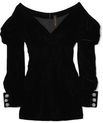 Alexandre Vauthier Off-the-shoulder Velvet Mini Dress - Black