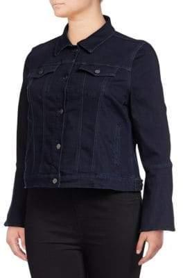 Lord & Taylor Plus Rinse Wash Denim Bell-Sleeve Jacket