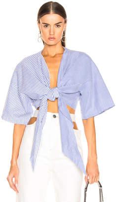 Marques Almeida Marques ' Almeida Knot Shirt in Blue Stripe | FWRD