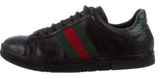 Gucci Ace Crocodile-Trimmed Sneakers