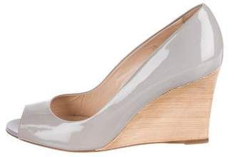 Tod's Patent Leather Peep-Toe Wedges