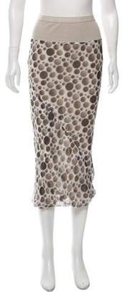 Rick Owens Silk Printed Midi Skirt