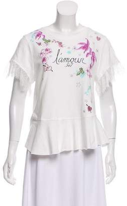 Cinq à Sept Lace Accented Short Sleeve T-Shirt