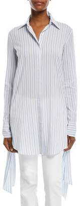 Michael Kors Moroccan Striped Streamer-Side Long-Sleeve Cotton Gauze Shirt