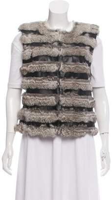 Diane von Furstenberg Leather Fur-Trimmed Vest