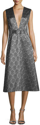 Suno Sleeveless Scalloped Metallic Midi Dress, Silver